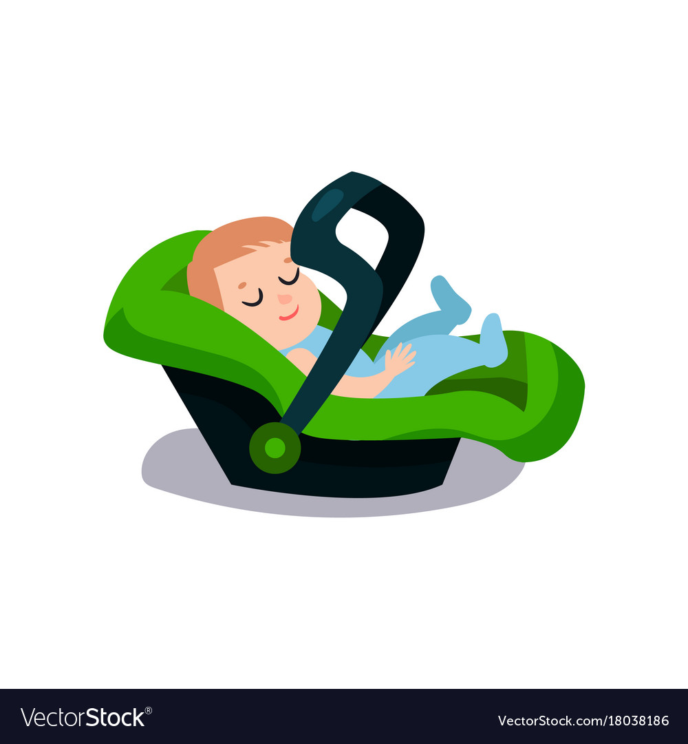 Cute Baby Sleeping On A Green Car Seat Safe Child Vector Image