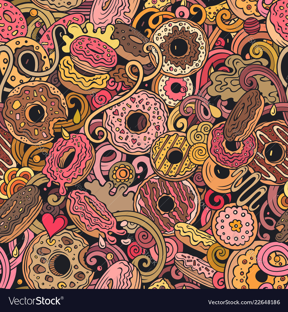 Donuts hand drawn doodles seamless pattern