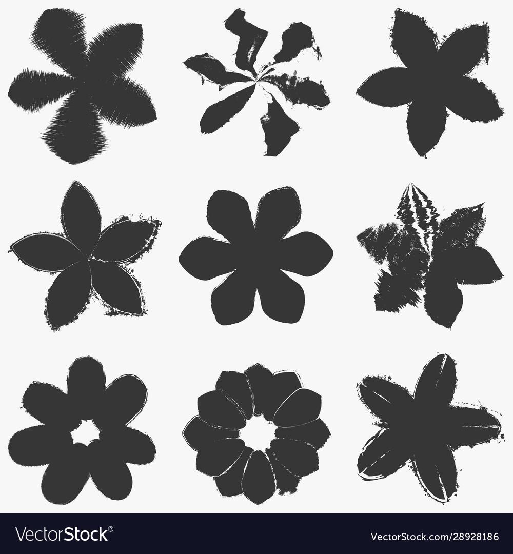 Grunge flowers set
