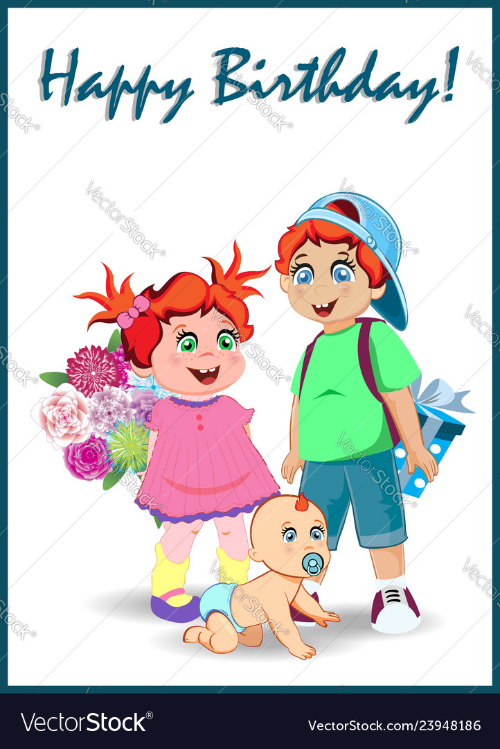 Happy Birthday Greeting Card Of Cute Cartoon Kids Vector Image