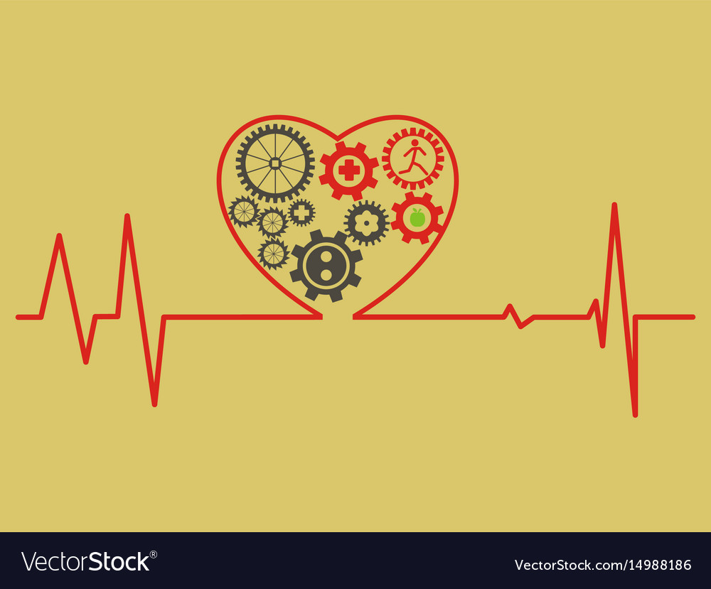 Healthcare concept cardiogram heart symbol