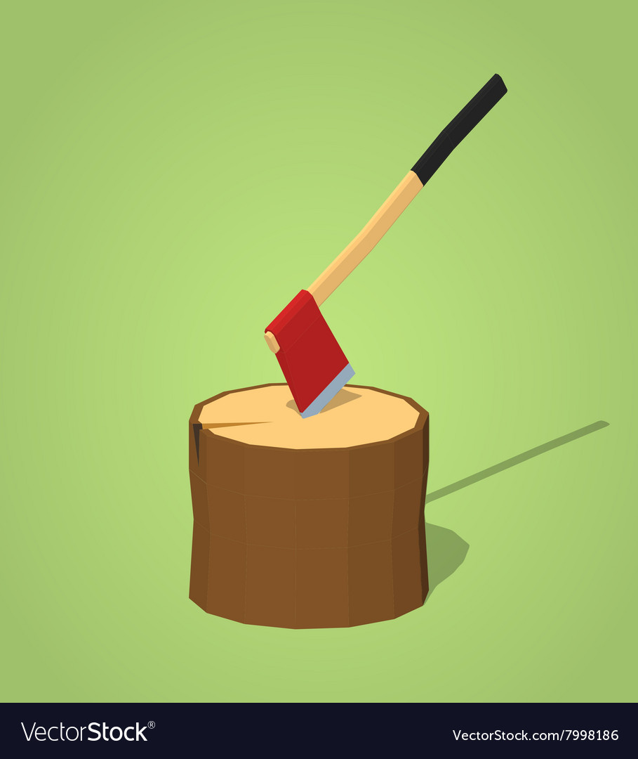 Low poly hatchet in the stump