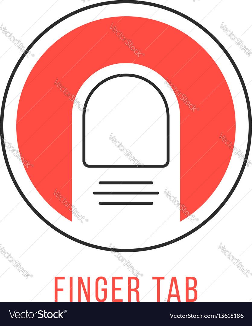 Red and black finger tab emblem