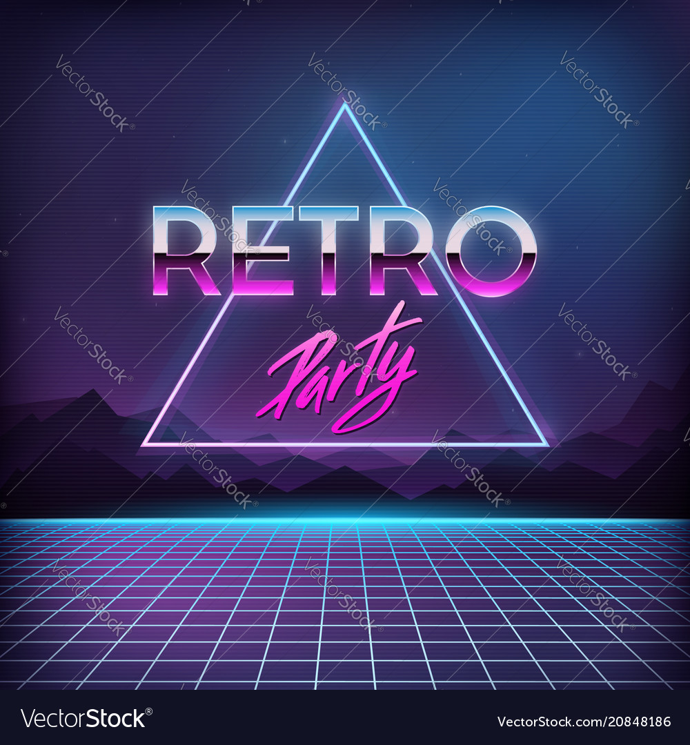 Retro party 1980s digital landscape with space