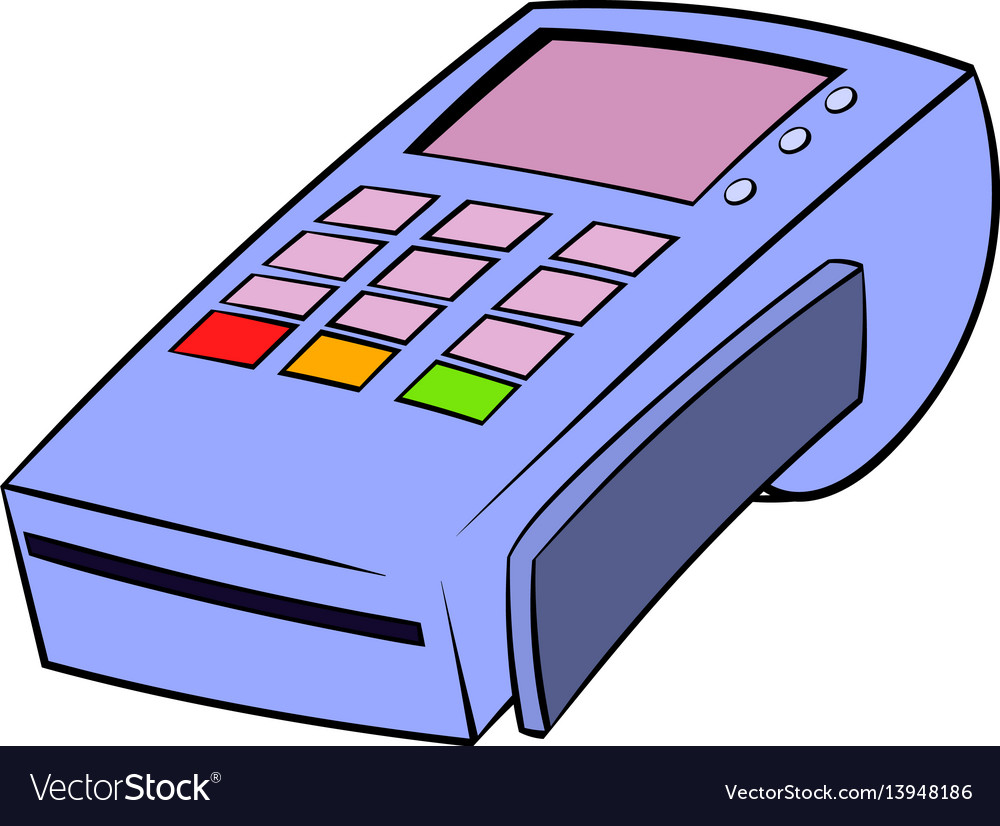 Terminal for credit card icon cartoon