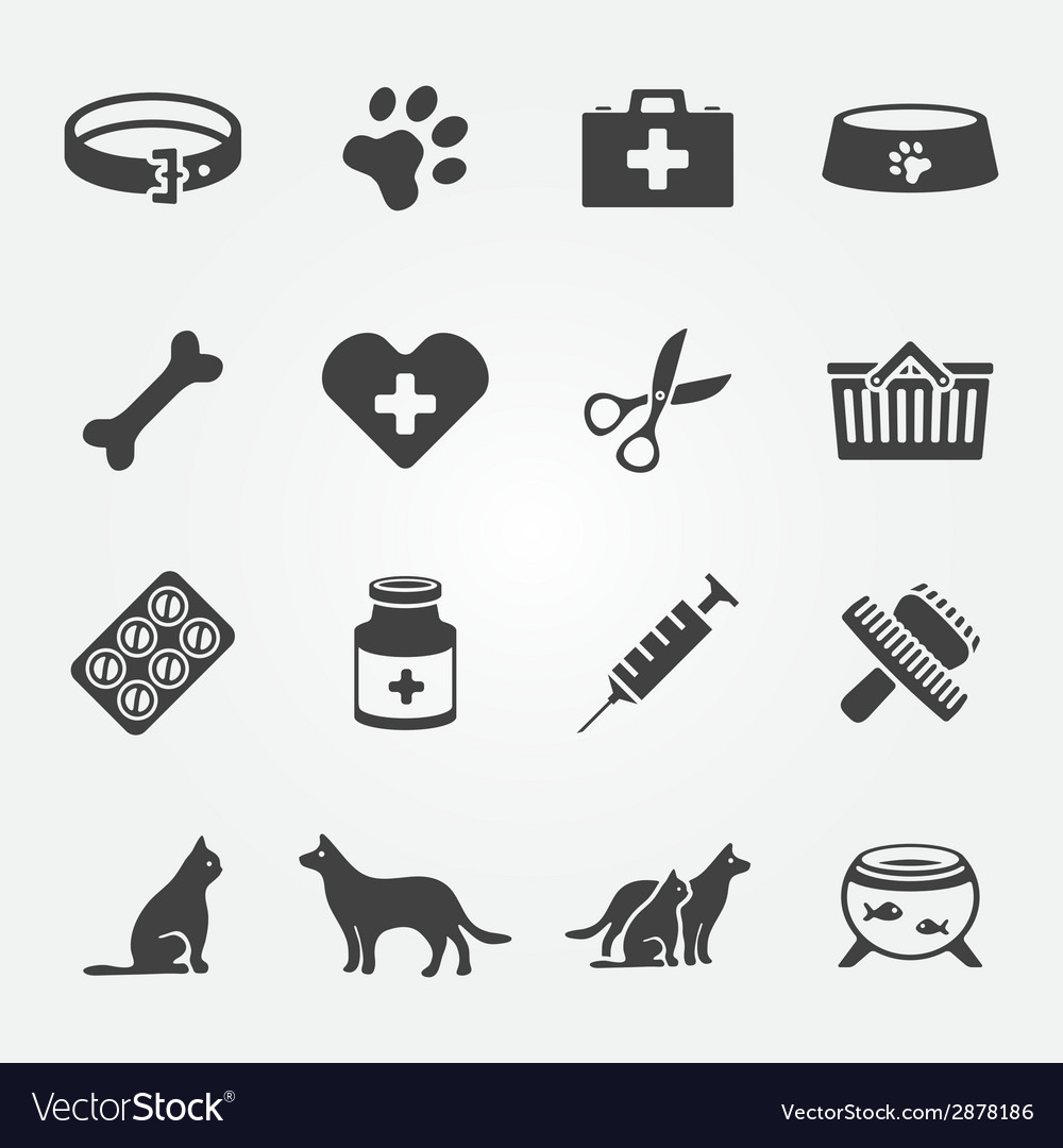 Veterinary pet icons set vector image