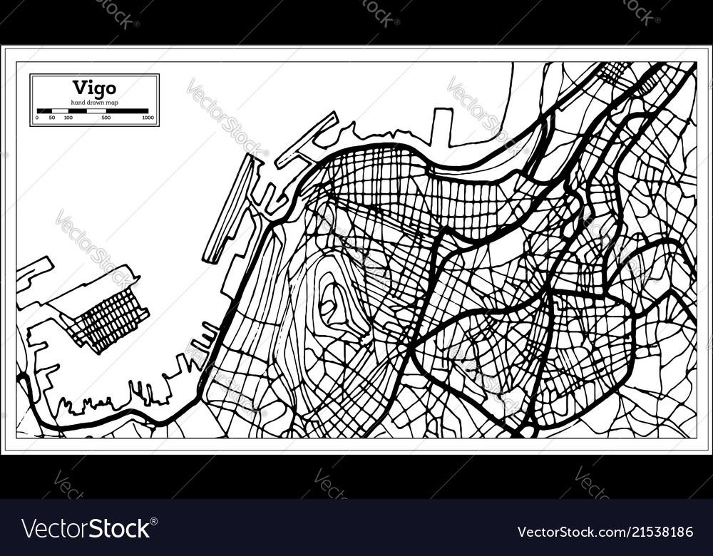 Vigo Spain City Map In Retro Style Outline Map Vector Image