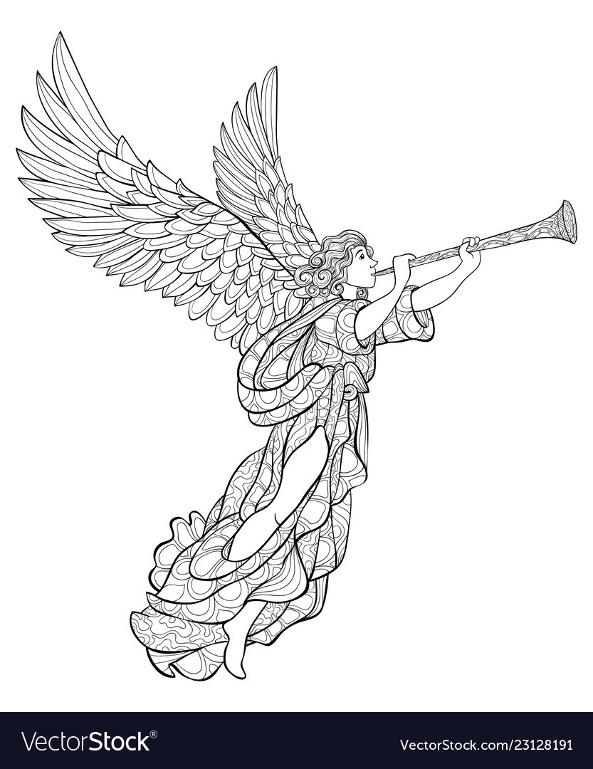Christmas Angel.Adult Coloring Bookpage A Cute Christmas Angel