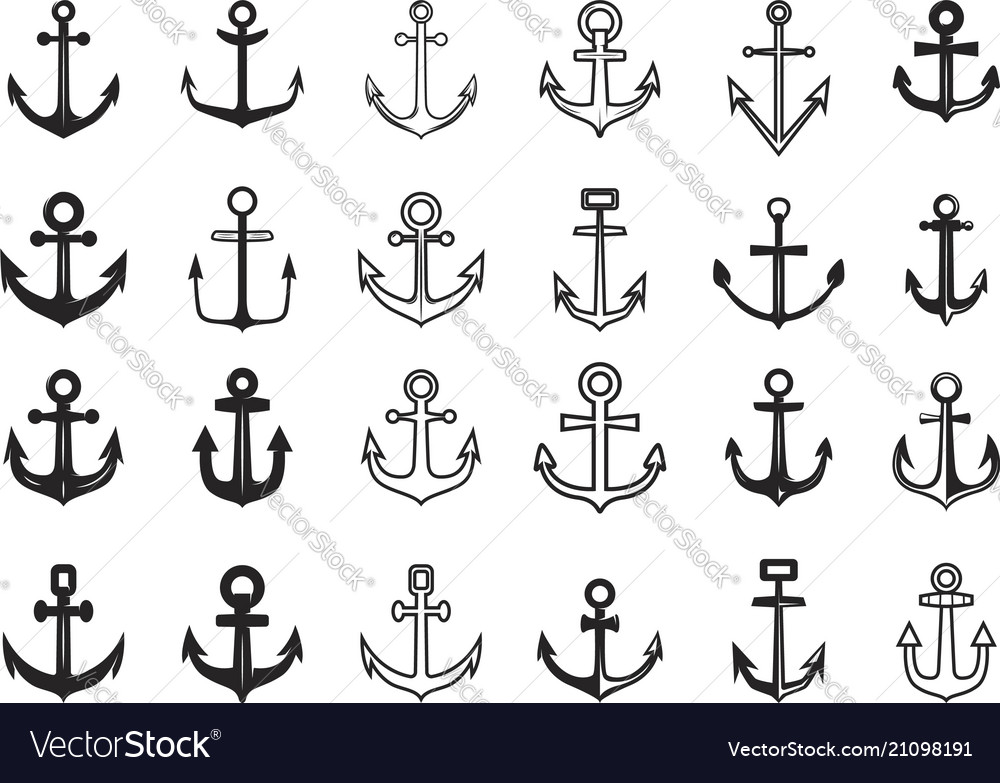 Big set of anchor icons design element for logo