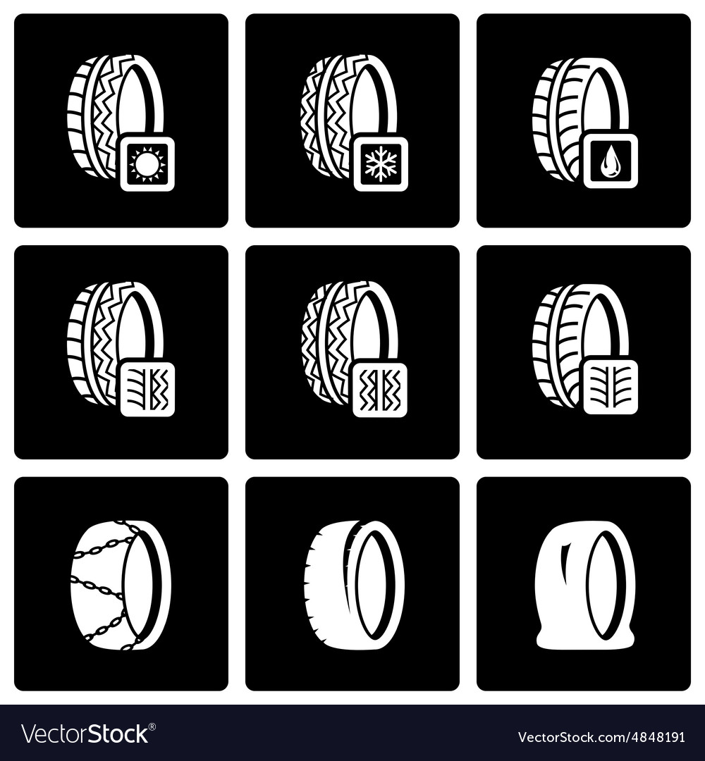 Black tire icon set