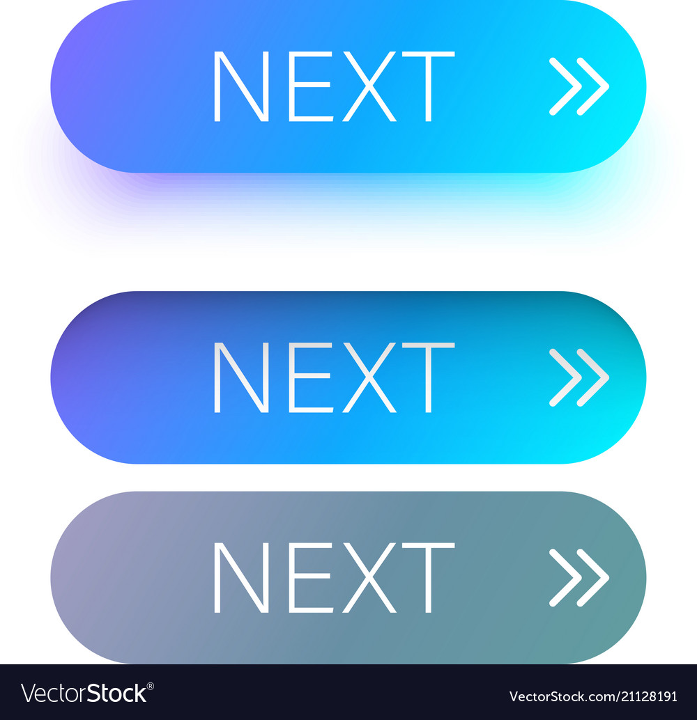 Blue next web buttons with arrow isolated on white