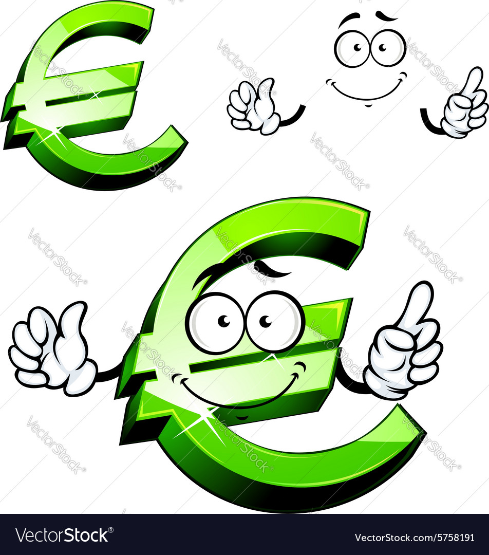 Cartoon Isolated Green Euro Sign Royalty Free Vector Image