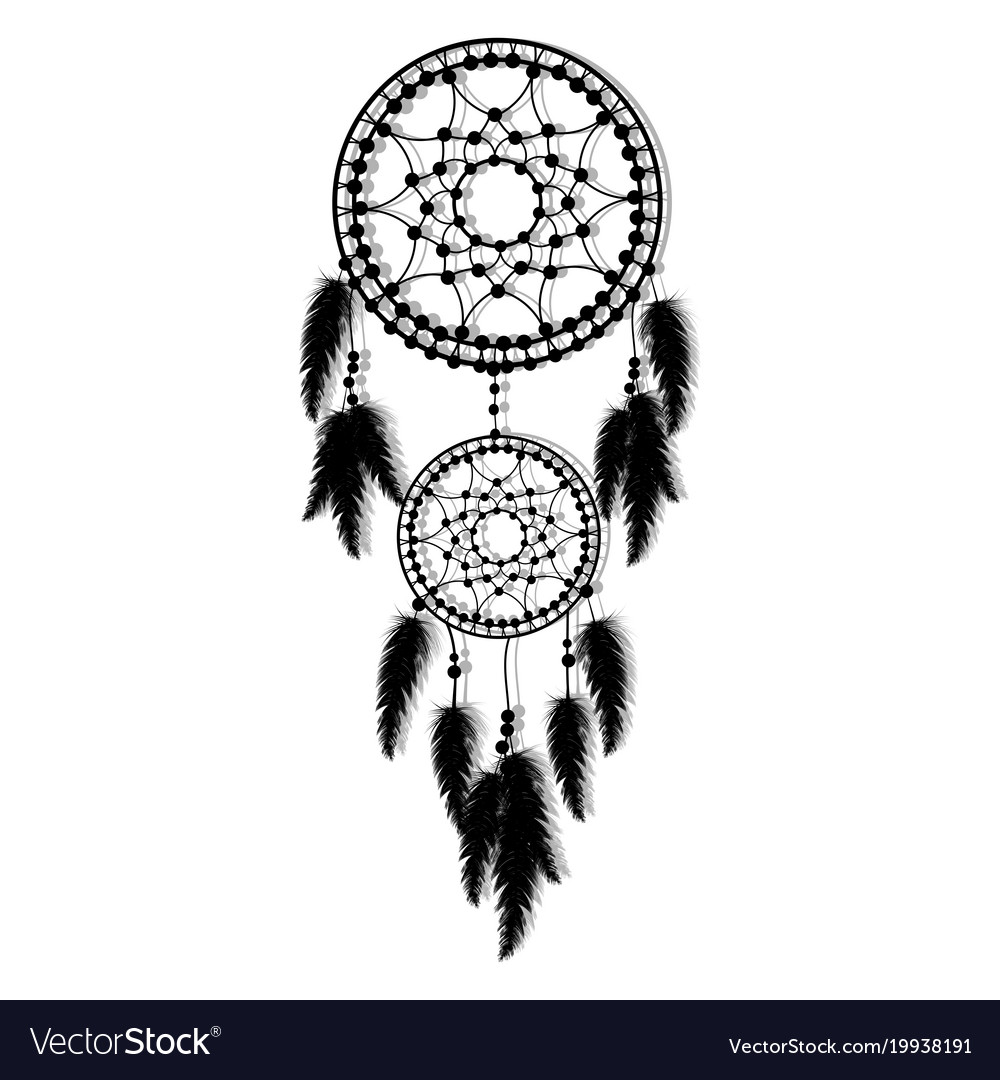 Hand-drawn dream catcher with feathers