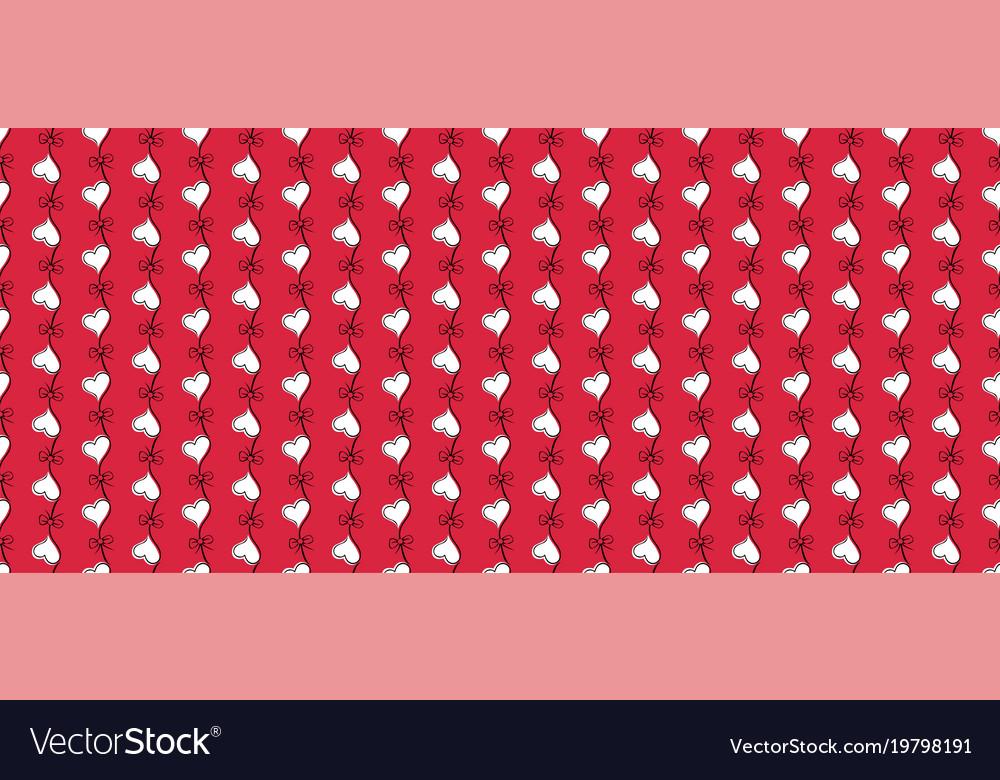 Heart seamless pattern red and white color vector image