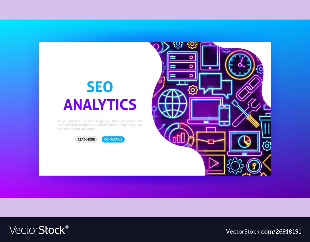 Seo analytics neon landing page