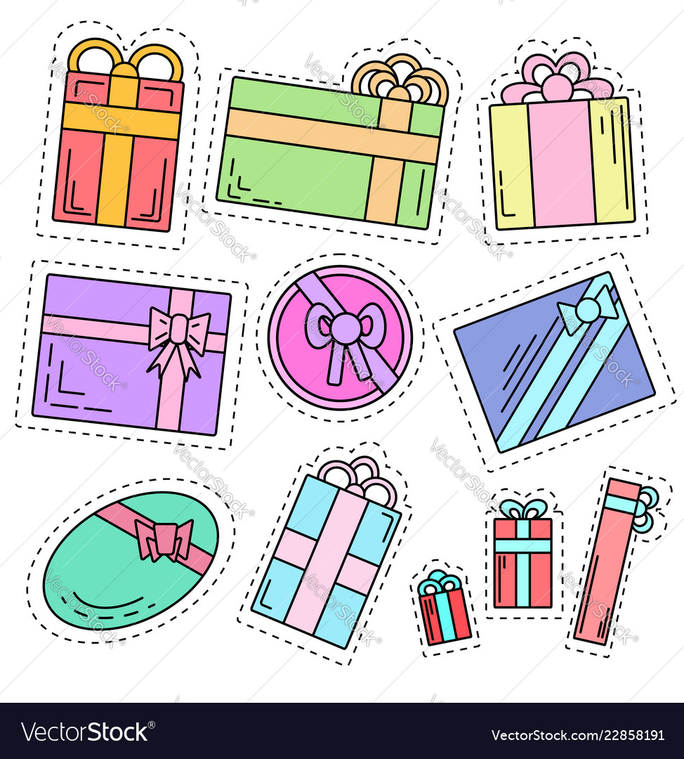 Set of color linear stickers of festive gifts of