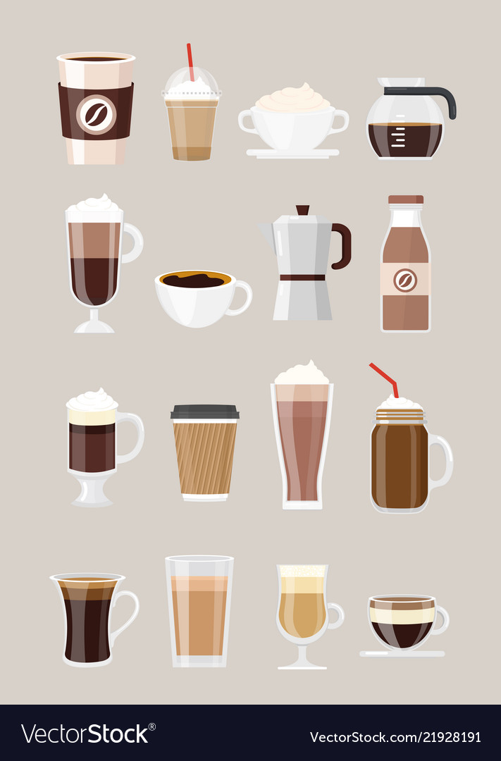 Set of different coffee drinks