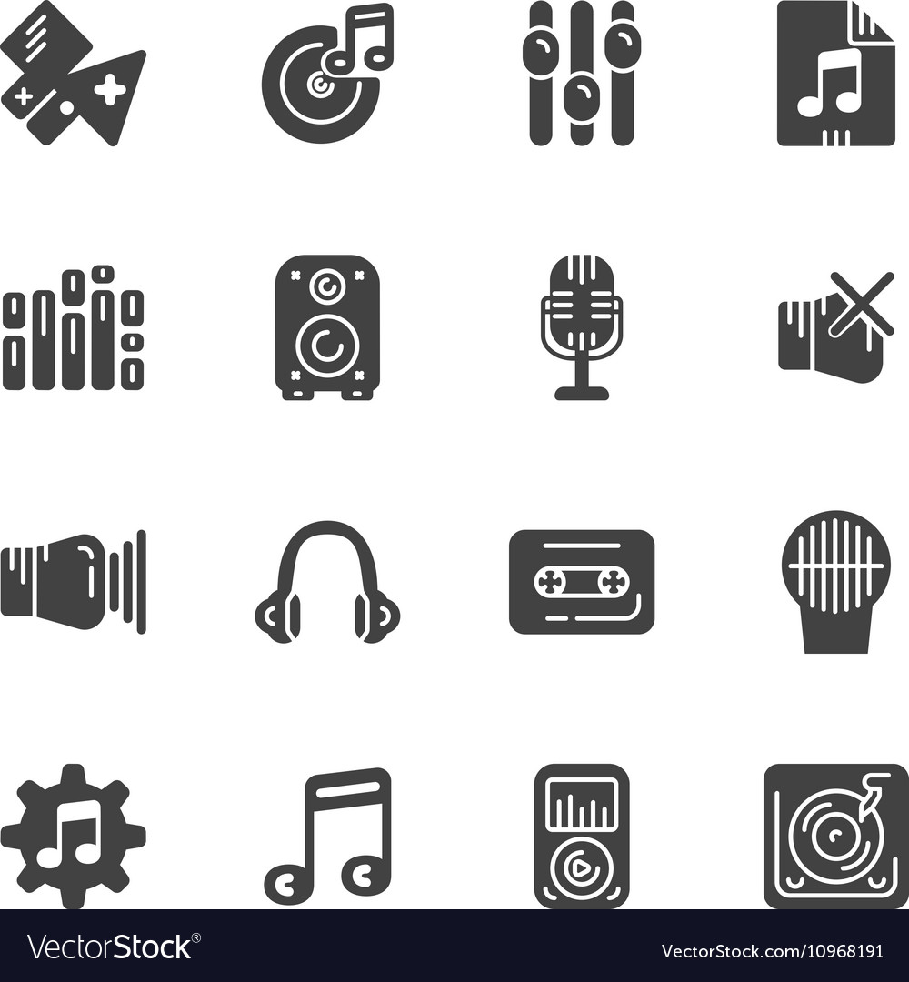 Set of solid icons for music