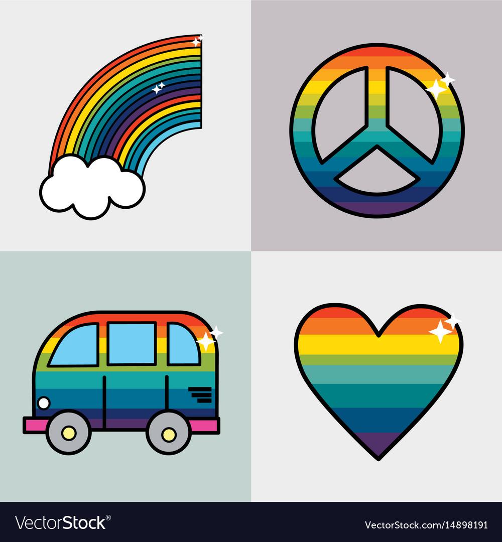 Set symbols to representative the hippies