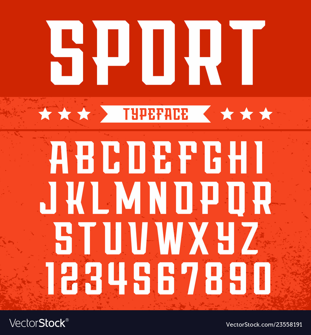 Sport font alphabet with latin letters and