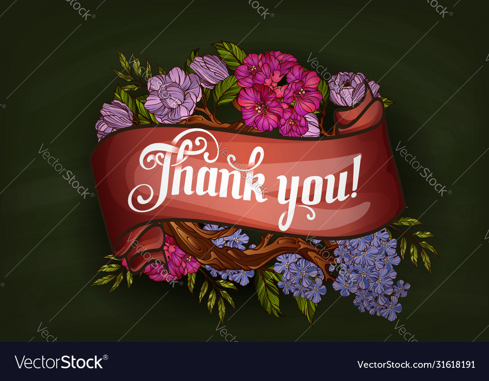 Thank you lettering decorated with flowers poster