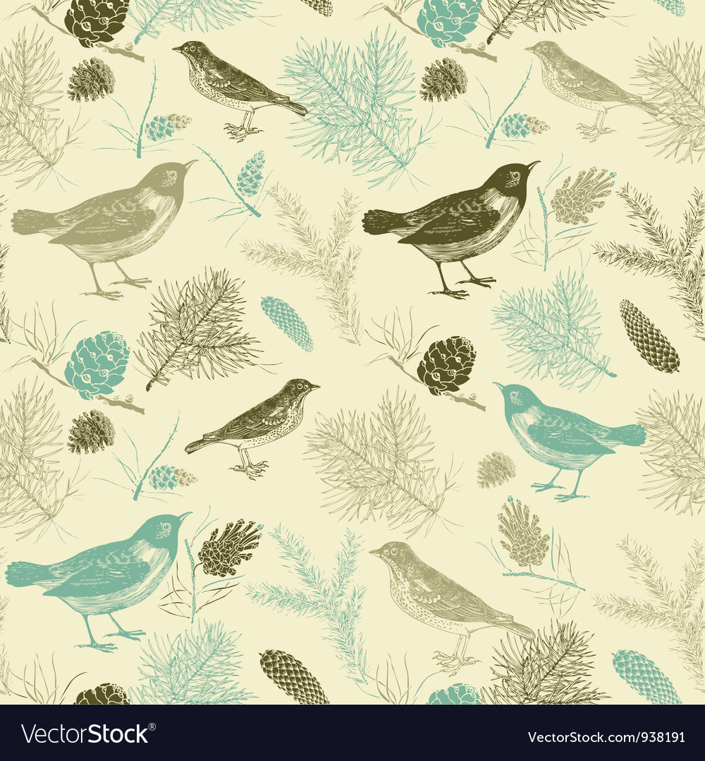 Vintage birds pattern