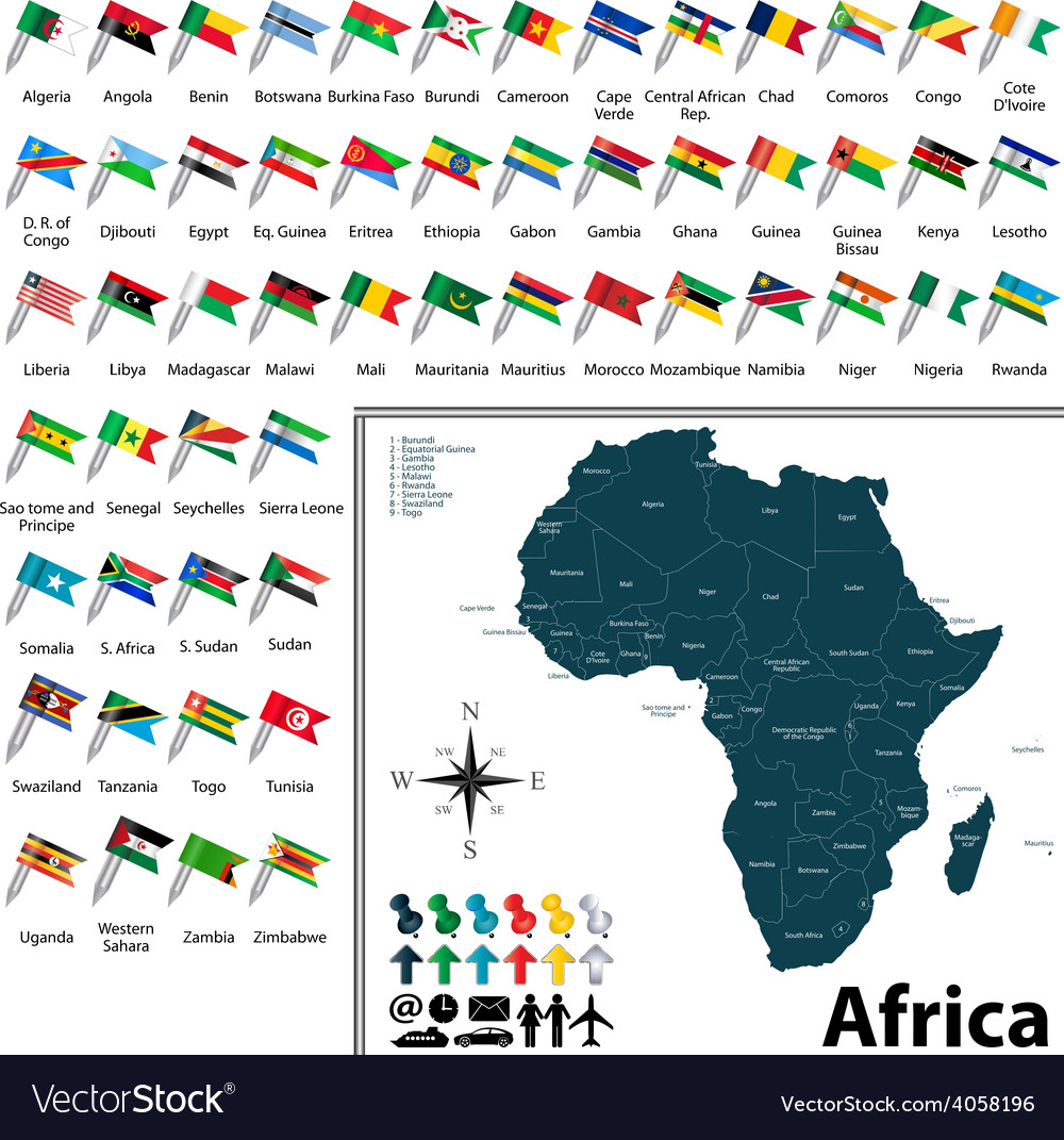 Map Of Africa With Flags.African Political Map With Flags Royalty Free Vector Image