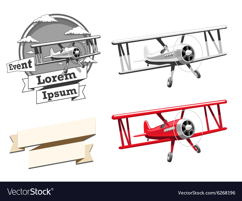 Airplane logo and ribbon vector image