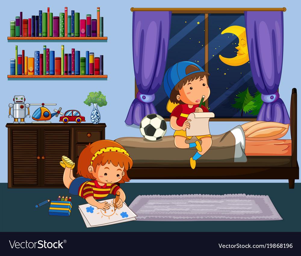 Boy And Doing Homework In Bedroom Vector Image
