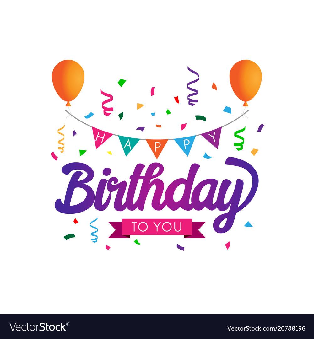 Colorful happy birthday typographic
