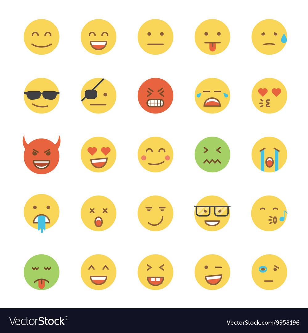 Flat Design Emoji Round