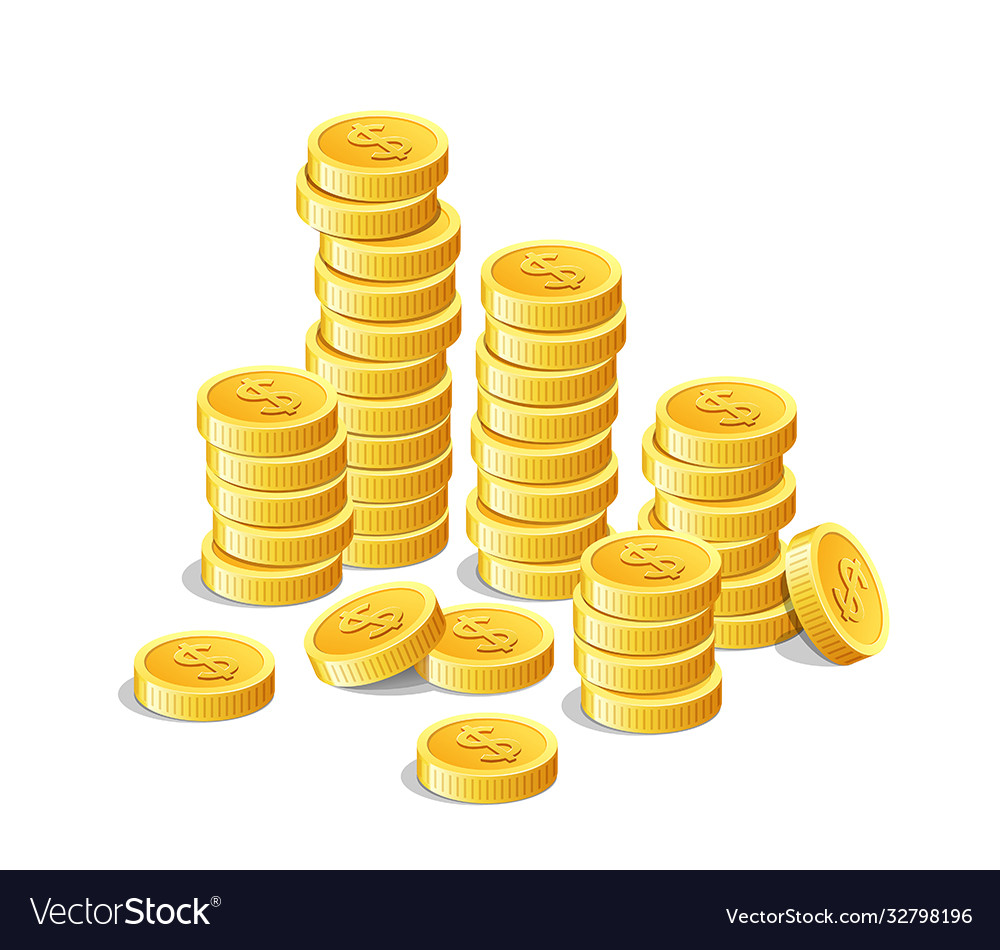 Gold coins money cash finance investment isolated