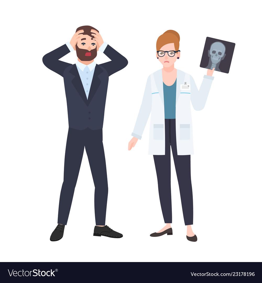 Grumpy female physician or radiologist