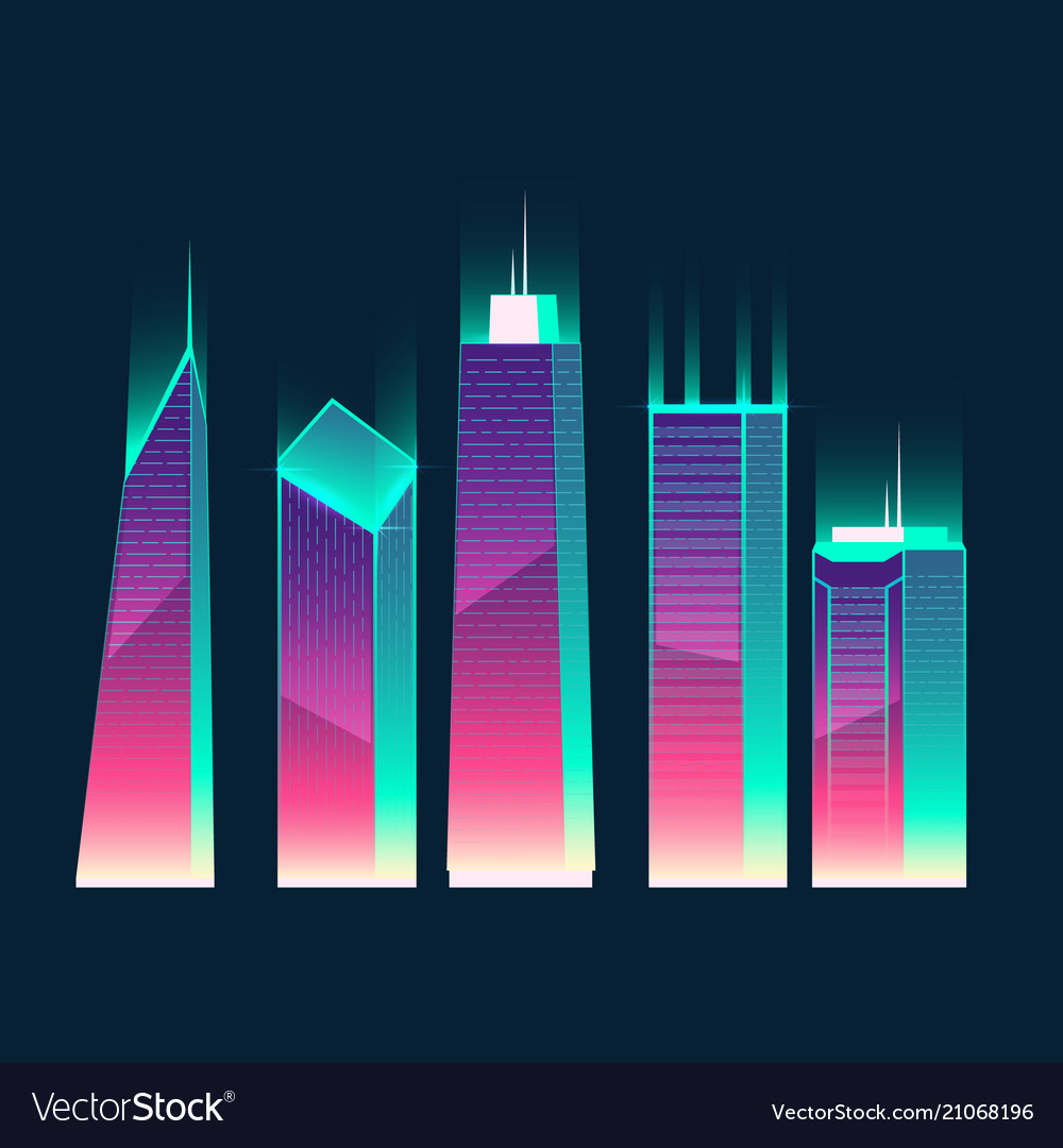 Neon multistorey buildings cartoon