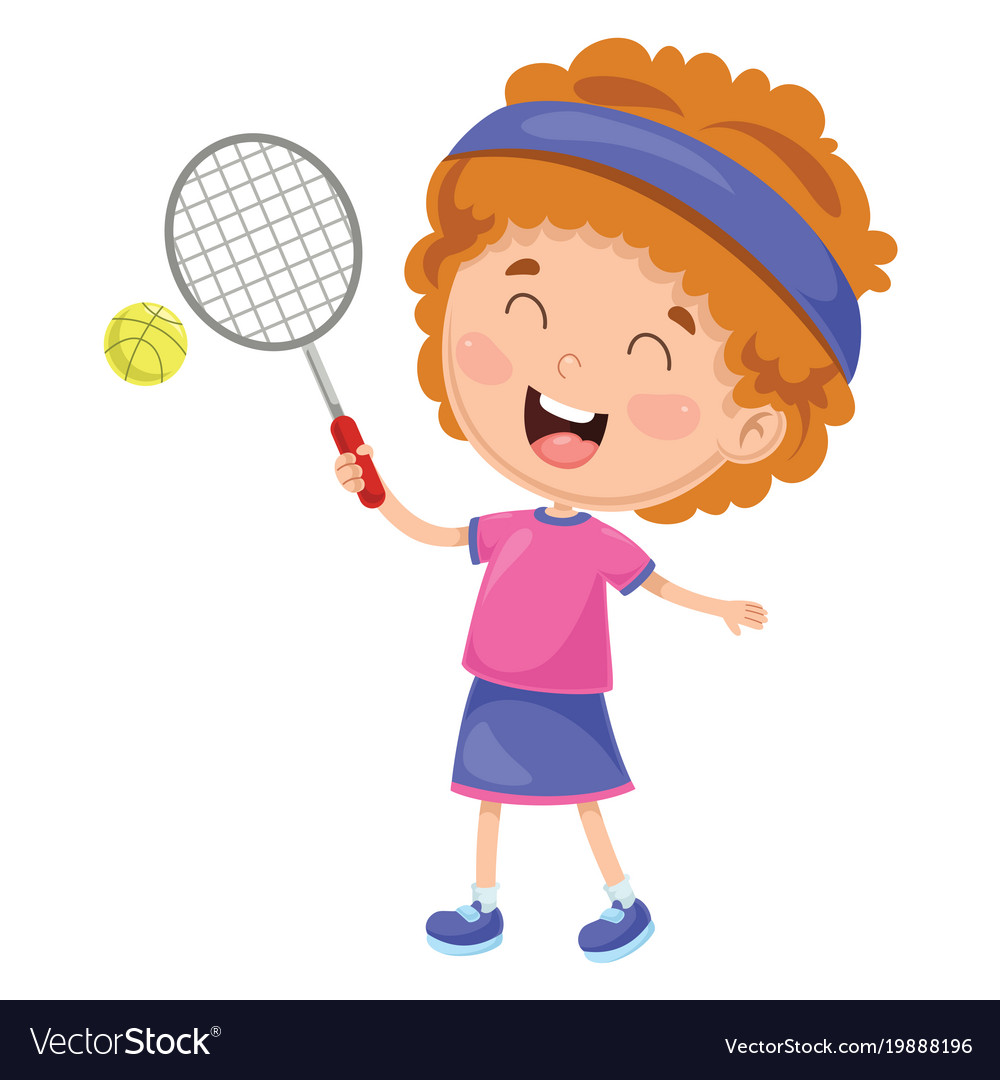 Of kid playing tennis vector image