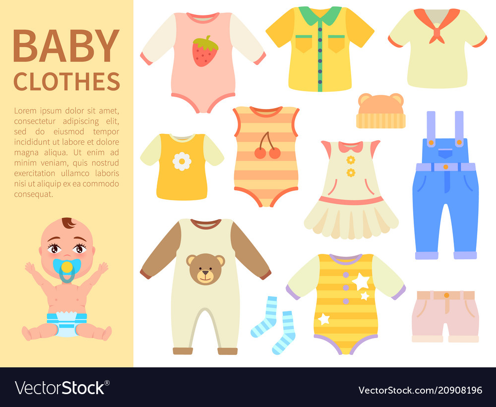12b0ba35af51 Set of baby clothes isolated on white background Vector Image