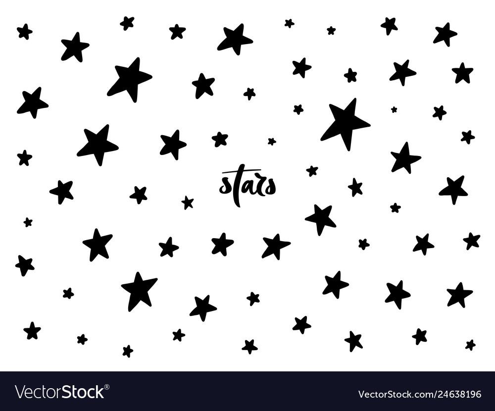 Set of black hand drawn stars