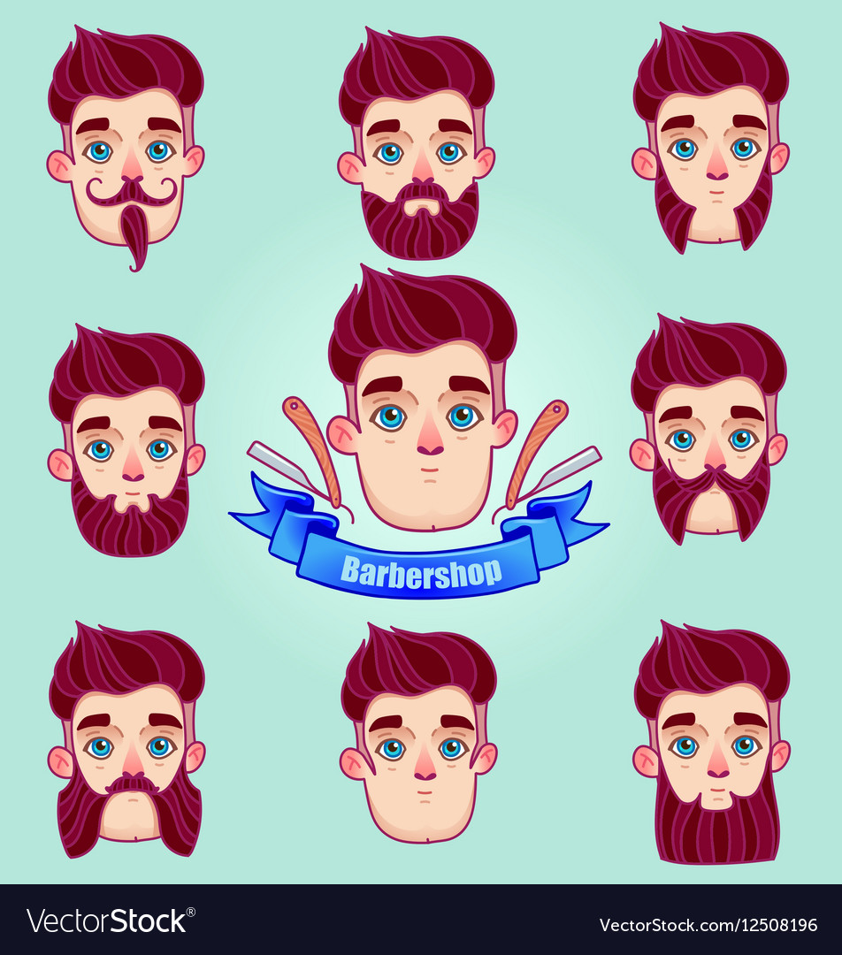 Set of different style mustaches and beards vector image