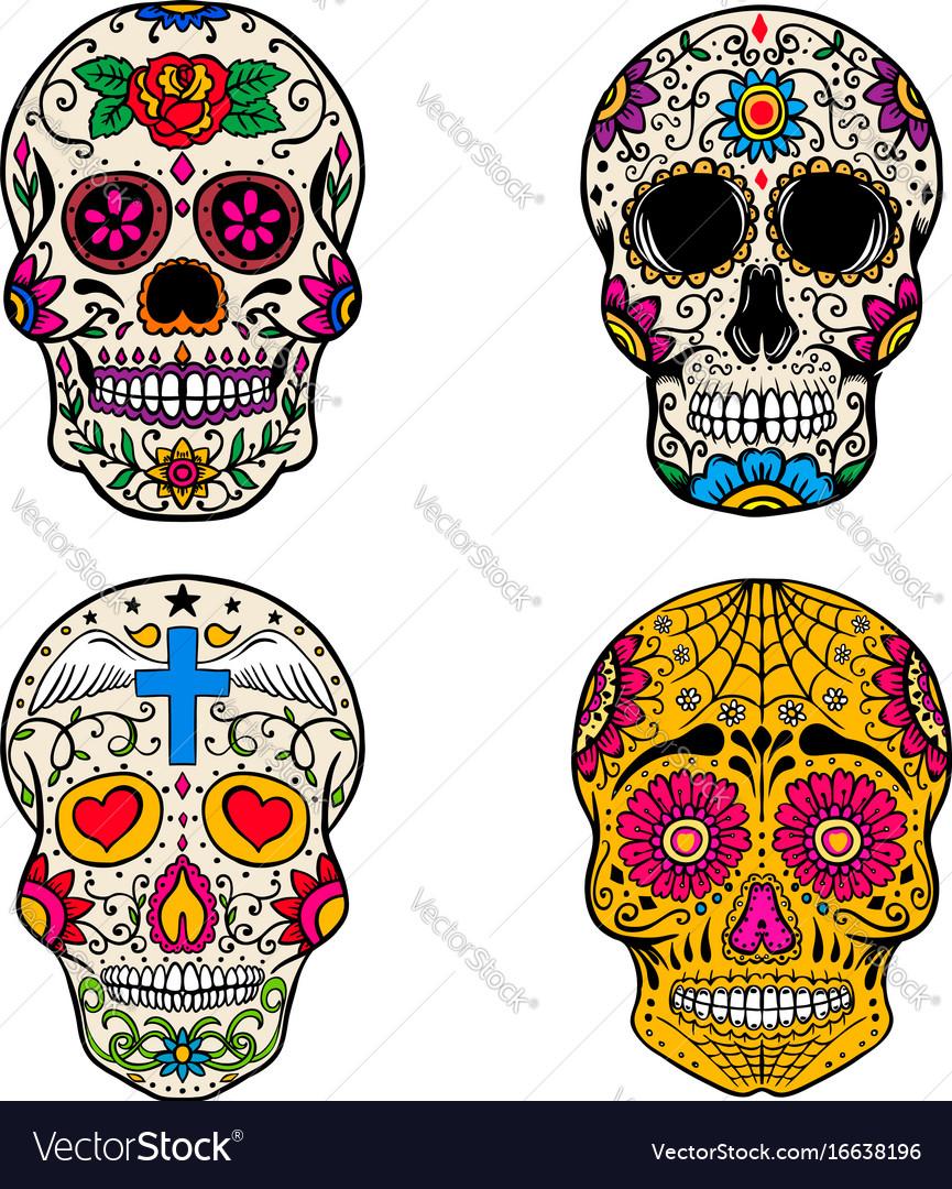 Set of sugar skulls isolated on white backgroun