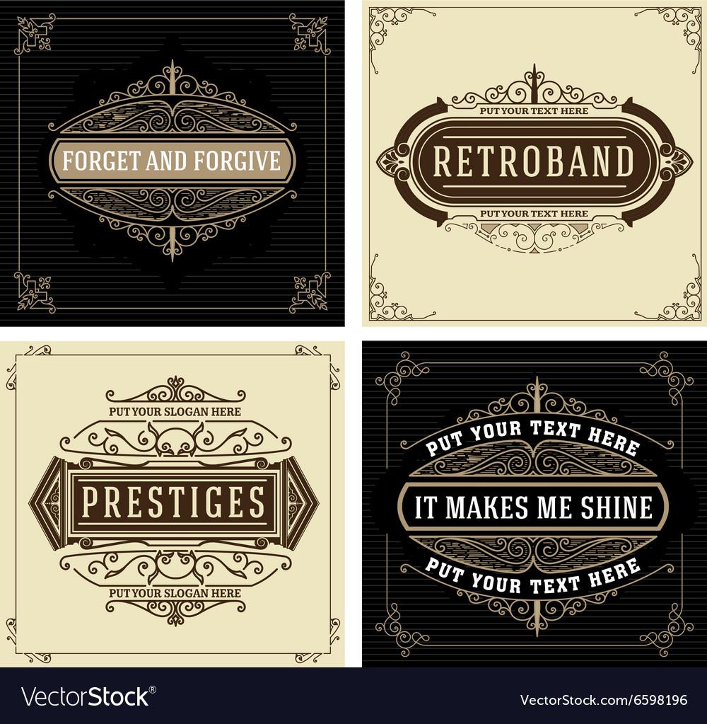 Vintage logo templates with Flourishes Elegant