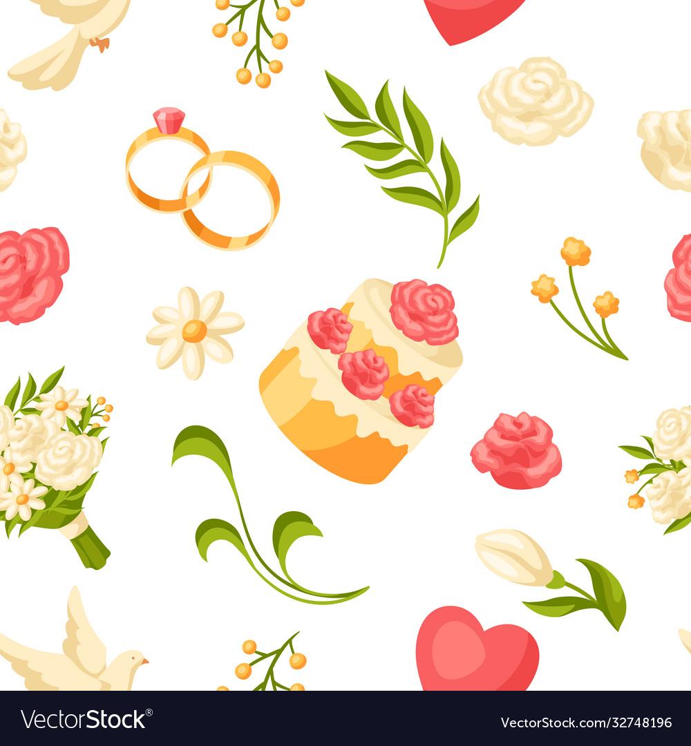 Wedding seamless pattern marriage background