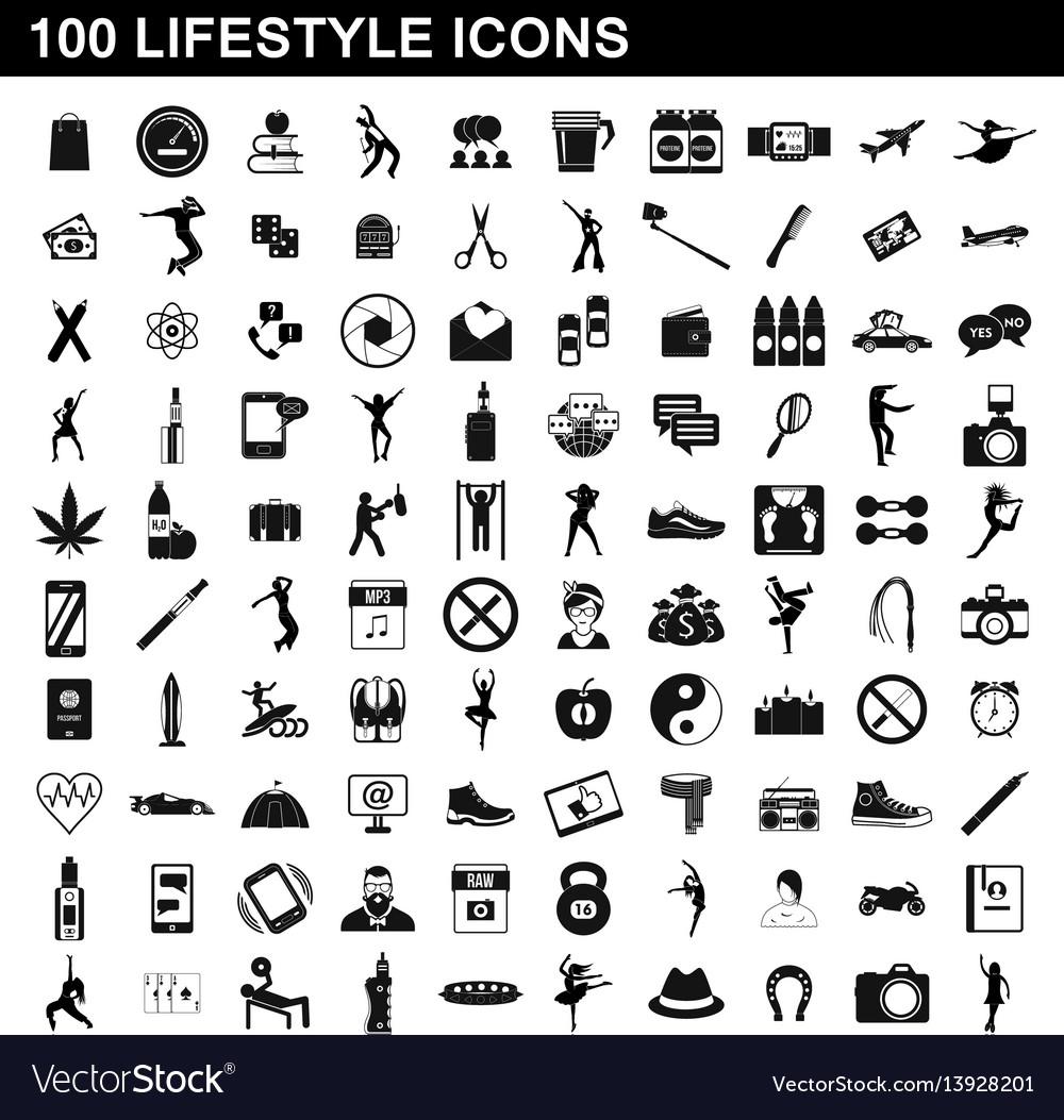 100 lifestyle icons set simple style
