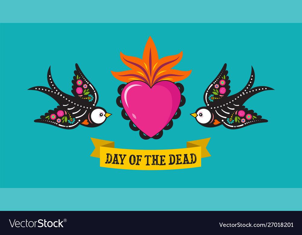 Day dead dia de los moertos birds skulls