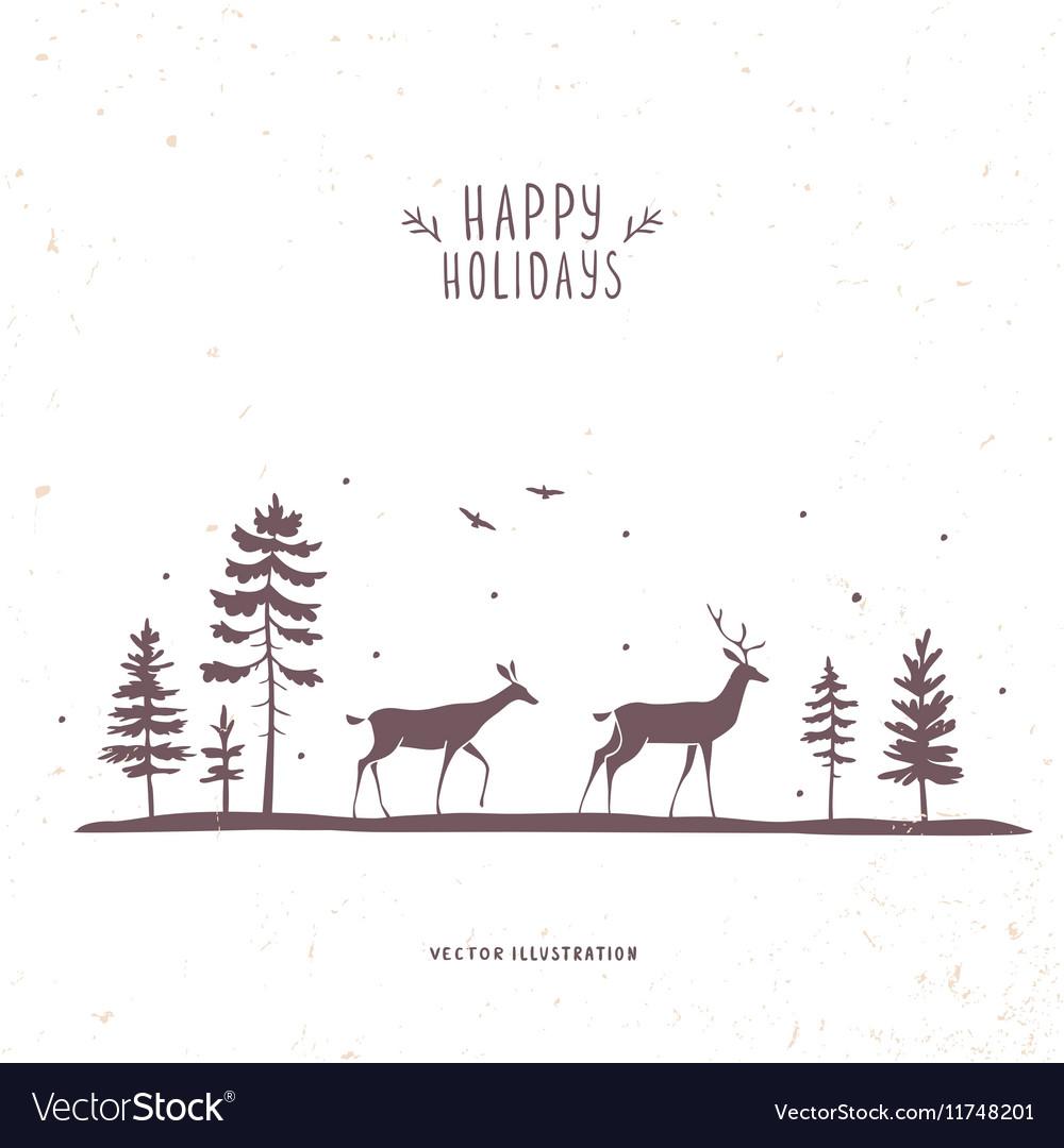 Deer forest vector image