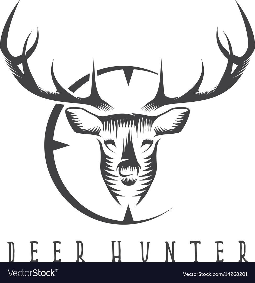 Deer head with target design template Royalty Free Vector
