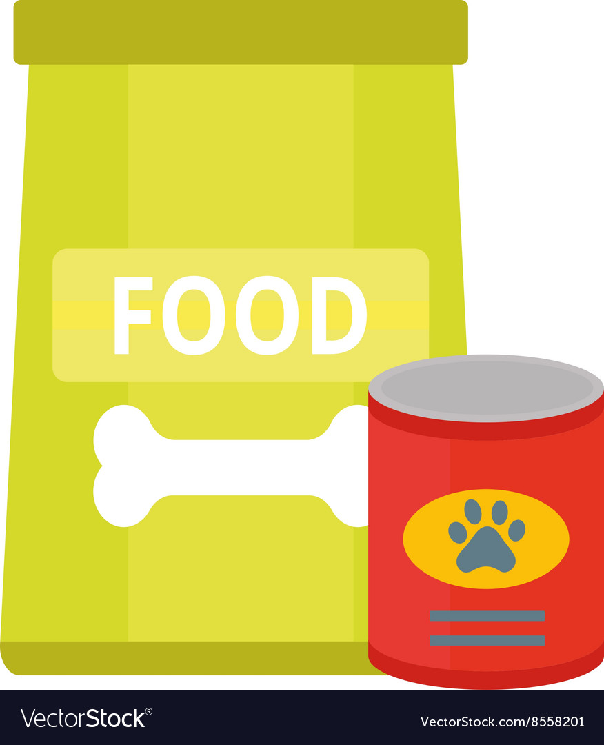 Dry dog treats in bowl and big bag of food animal vector image