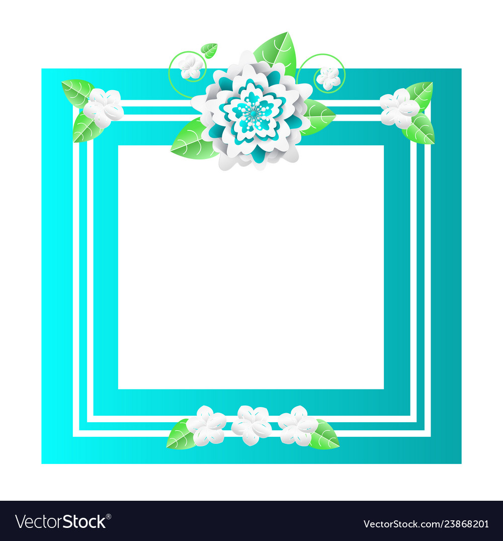Floral frame with lines and flowers empty banner
