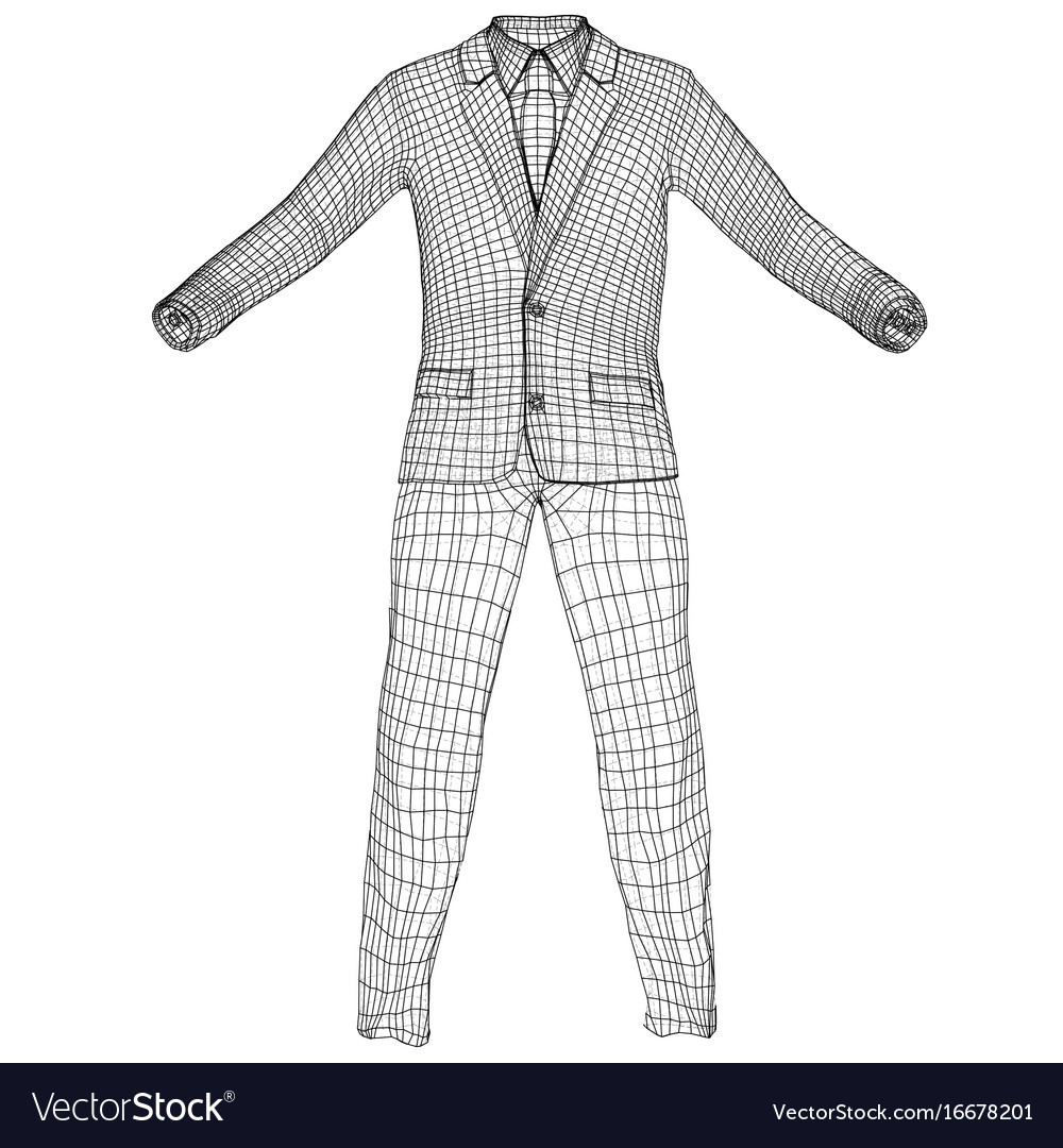 Mans suit in wire-frame style