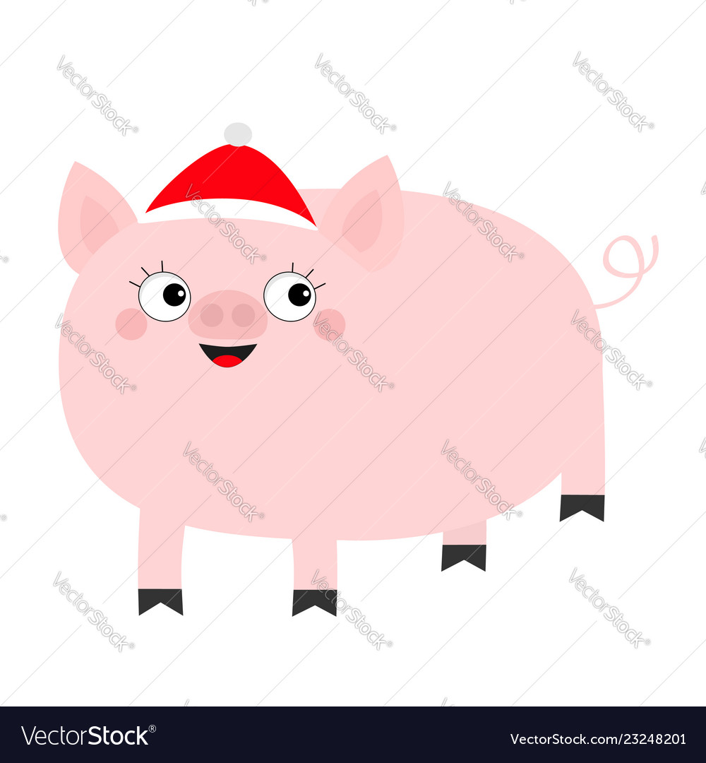 Pig piglet in santa red hat cute cartoon funny