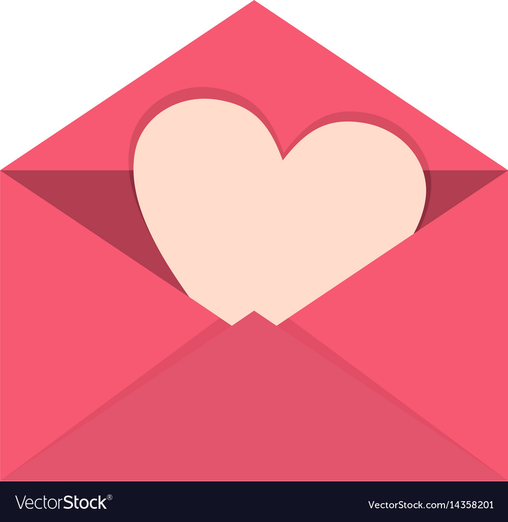 Pink envelope with valentine heart icon isolated